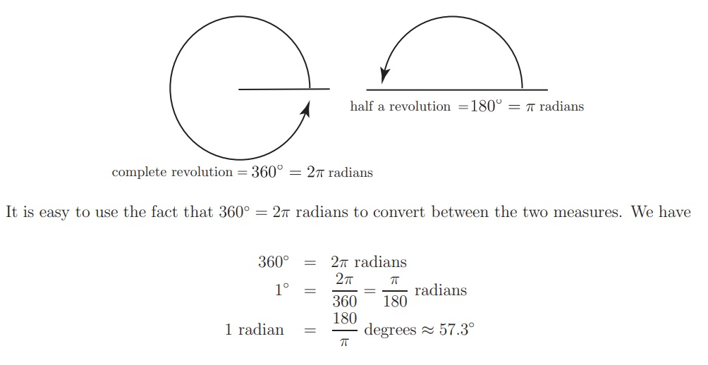 Degrees to Radian Formula